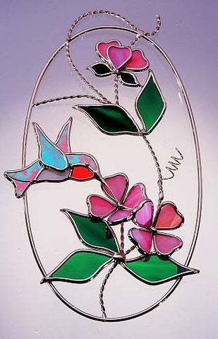 KIT! HUMMINGBIRD OVAL KIT Studio One Art Glass Precut Glass You Make It 9011