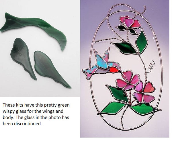 KIT HUMMINGBIRD OVAL KIT Studio One Art precut Glass PLEASE READ THE DESCRIPTION