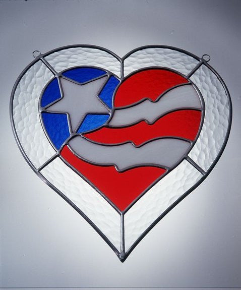 "Pre-Cut Stained Glass FREEDOM HEART AMERICAN FLAG Panel KIT 11"" STUDIO ONE 9028"