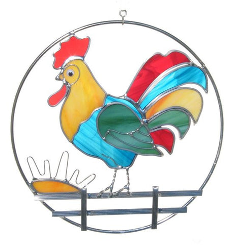 "Kit  Country Adorable ROOSTER RING Pre-Cut Stained Glass 8"" Studio One 9044"