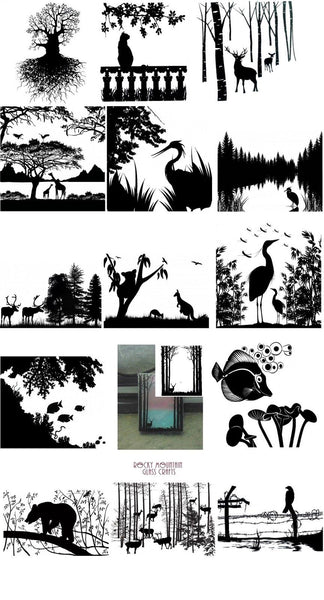 Choice ANIMAL NATURE Glass Enamel Fusing Decal Trees Fish Birds Deer Heron Bear