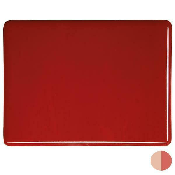 "0124 Red Striker Opalescent Bullseye 90 COE Glass Sheet 10x10"" 90COE Fusible"