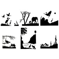 EXOTIC ANIMALS Glass Enamel Fusing Decals AAE Elephant Kangaroo Cat Horse Crane