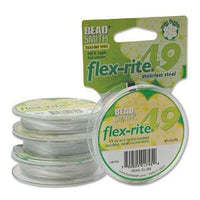 "PEARL SILVER Beading .018"" 49 Strand 100' BEADSMITH FLEX-RITE  Wire FLEXRITE"
