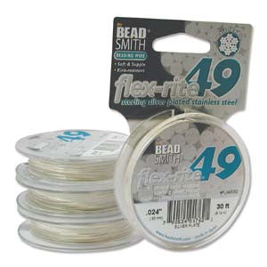 "STERLING SILVER PLATE  .024"" 49 Strand 30 feet BEADSMITH FLEX-RITE Beading Wire"