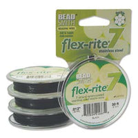 "BLACK COLOR .012"" 7 Strand 30 feet BEADSMITH FLEX-RITE Beading Wire FLEXRITE"