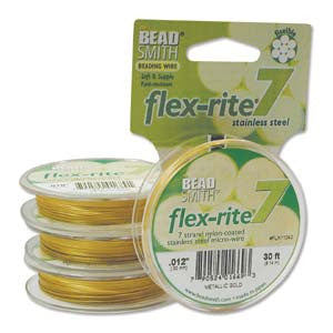 "METALLIC GOLD COLOR .012"" 7 Strand 30' BEADSMITH FLEX-RITE Bead Wire FLEXRITE"