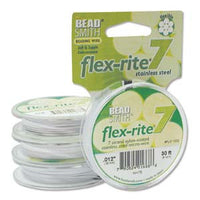 "WHITE COLOR .012"" 7 Strand 30' BEADSMITH FLEX-RITE Beading Wire FLEXRITE"