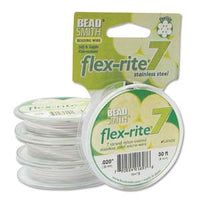 "WHITE COLOR .020"" 7 Strand 30 feet BEADSMITH FLEX-RITE Beading Wire FLEXRITE"
