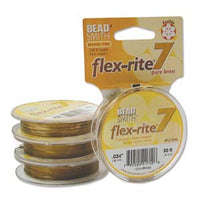 "SOLID BRASS .024"" 7 Strand 30' BEADSMITH FLEX-RITE Beading Wire FLEXRITE"