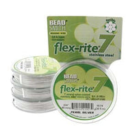 "PEARL SILVER .024"" 7 Strand 100' BEADSMITH FLEX-RITE  Beading Wire FLEXRITE"