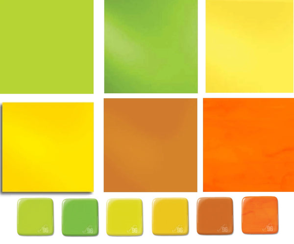 "6 Pieces 6x6"" Spectrum System 96 COE CITRUS OPALS Pack Glass Sheets Pack Stock Up"