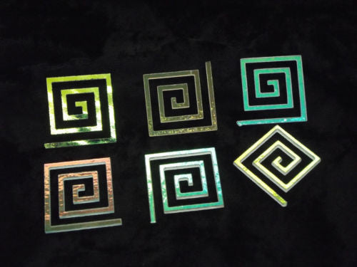 Dichroic Glass Spiral Clear Square 6 Pieces 90 COE Greek Key Dichro Fusing 1.25""