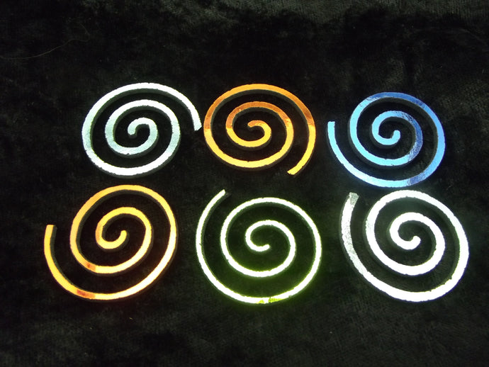 6 Pieces Dichroic Firethings ROUND SPIRAL Precut Glass Shape 90 COE on Clear