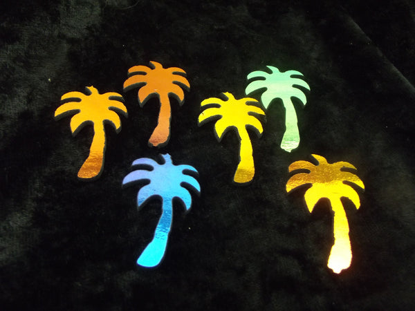 6 Pieces Dichroic PALM TREE 96 COE Glass Precut on Thin Black Firethings Dichro