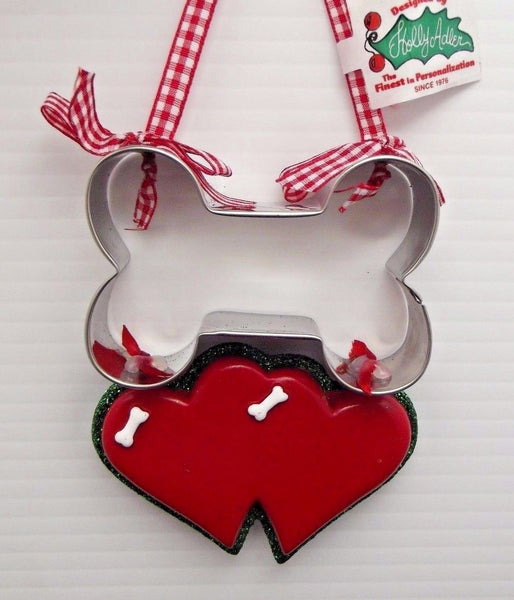 Two Dogs BONE COOKIE CUTTER HEART Ornament Country Check Ribbon SO CUTE Adler
