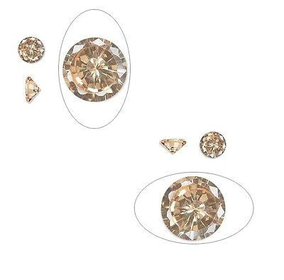 2 6mm .75 carat CHAMPAGNE CZ PMC Art Clay Silver Gold Cubic Zirconia