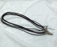 "Six Pieces 18"" 2mm round BLACK LEATHER NECKLACE with lobster clasp Finding"