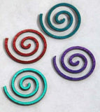 6 PCS Dichroic FIRETHINGS ROUND SPIRAL 90 COE VARIOUS SHIFTS PATTERN BLACK Glass