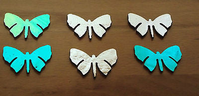 "DICHROIC 6 PC 90 COE on BLACK  BUTTERFLIES Shape Firethings 1-1/2"" Glass Fusing"