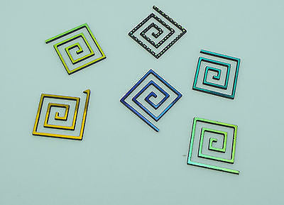 Six Pieces Dichroic FIRETHINGS KEY SPIRAL 96 COE VARIOUS SHIFTS PATTERN BLACK Glass