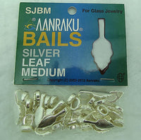 Silver Plated Jewelry Bails MEDIUM New Aanraku 25 Leaf Glue On