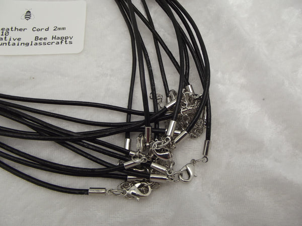 "2mm Black Leather with Silver Colored Hardware Necklaces 18"" + Extender Chain"