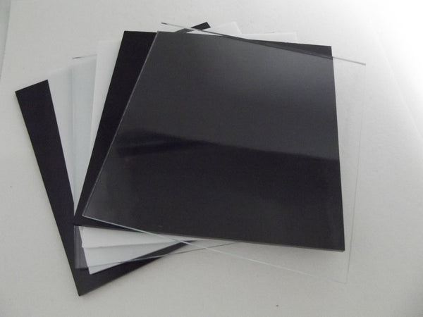 "8 Pieces 2mm Thin 6x6"" Spectrum System 96 Black & White Opal & Clear Glass Sheets Pack Studio Stock Up (See shipping special!)"