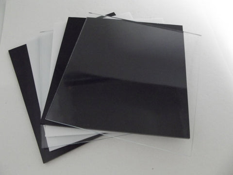 "6 Pieces 6x6"" Spectrum System 96 Black & White Opal & Clear Glass Sheets Pack Studio Stock Up (See shipping special!)"