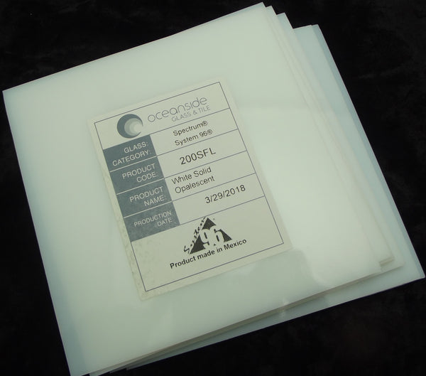 "8 Pieces 6x6"" Spectrum System 96 COE WHITE Thin 2mm Glass Sheets Pack Studio Stock Up"