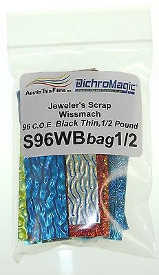 8 oz WISSMACH Jeweler's SCRAP DICHROIC GLASS 8oz  Mix Color Texture Black 96