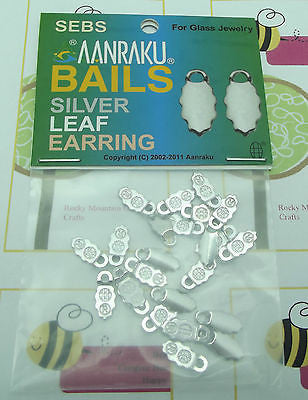 SILVER plated Earring Bails for FUSED GLASS JEWELRY 24 12 Pairs Glue-On Aanraku