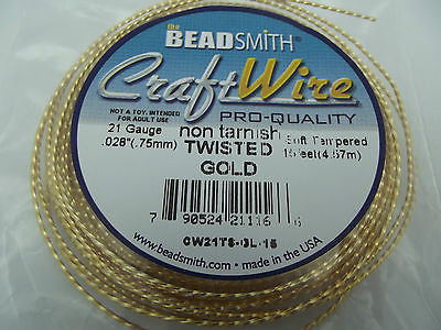 Beadsmith Craft Wire Non Tarnish Gold Colored Soft Twisted Square 15 ft  21 Ga