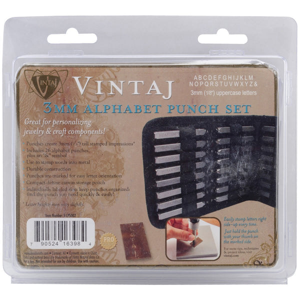 V-LPS002 Vintaj 3mm LETTER SET Alphabet Metal Stamps with Case Altered Art Tools