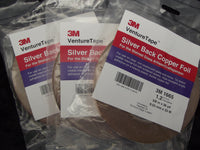 "Three Rolls Master Foil Plus 1.2mil Silver Back Copper Foil 3/8"" x 36 Yards 1665 38 Venture Tape"