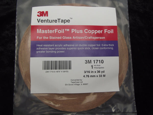 "VENTURE TAPE 1 mil Copper Foil 3/16"" Wide x 36 Yards Stained Glass 1710 316"