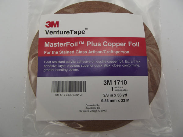 "VENTURE TAPE 1710 3/8"" COPPER FOIL 1mil by 36 Yards Stained Glass Supplies"