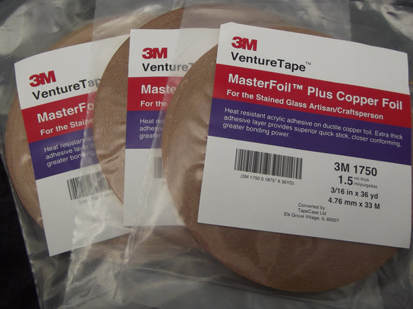 "THREE ROLLS 3/16"" Wide 1.5 mil thick Venture Tape Copper Foil for Stained Glass"
