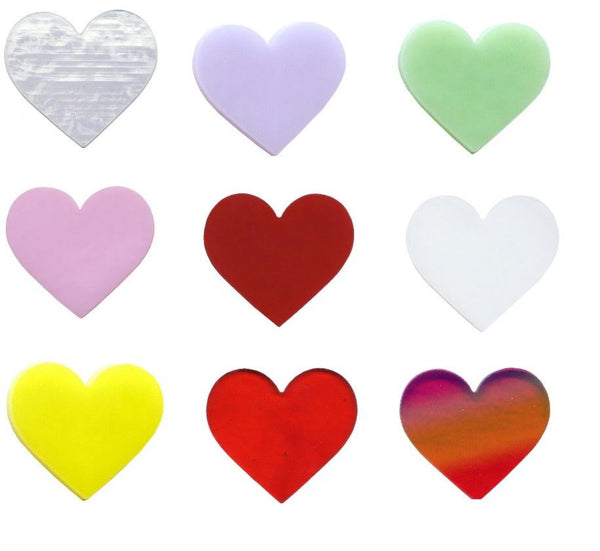 "1"" Precut 90 COE GLASS Heart Red Clear Lavender White Red Mint Yellow Pink CHOICE"