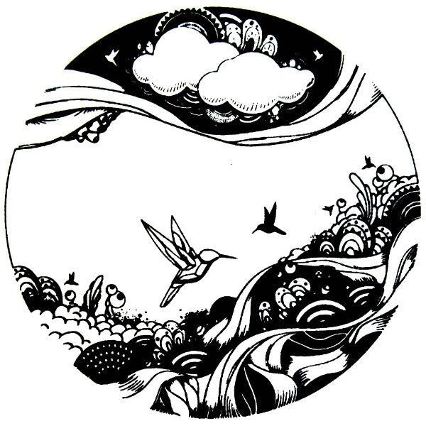 "ARTSY BIRD Circle 2"" Black Glass Enamel Fusing Decal AAE Kiln Supplies Pendant"