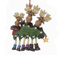 So Cute! Family of 1 2 3 or 4 MOOSE with Christmas TREE Dangling Legs Ornament