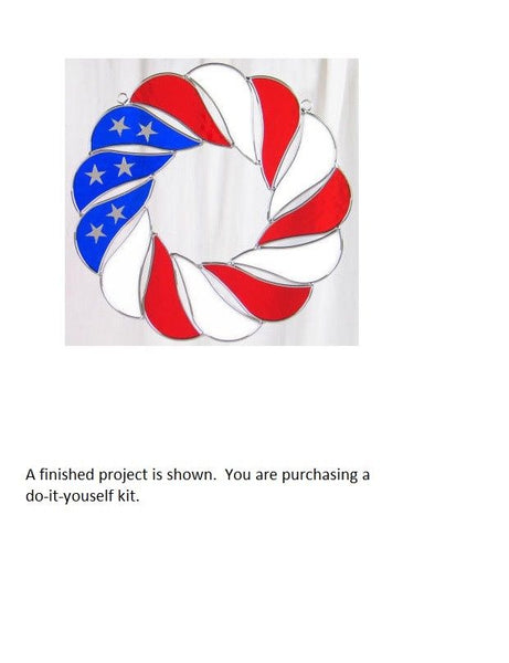 FLAG WREATH KIT Studio One Art Glass Precut 9115 Red White Blue Read Description