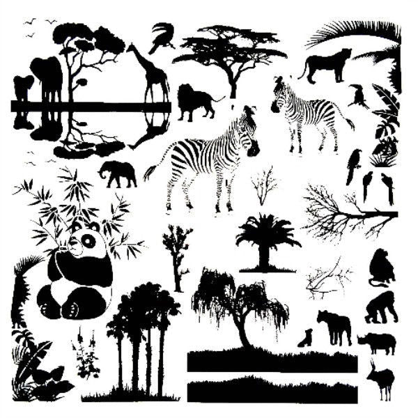 ON SAFARI Glass Low Fire Enamel Fusing Decal AAE Zebra Elephant Panda Rhino Lion