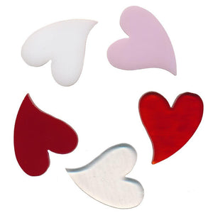 90 COE STYLIZED HEART Clear Red White Made With Bullseye Glass Fusing Mosaics