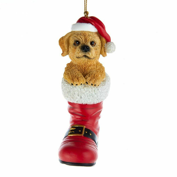 CUTE! Dog in Santa Boot Ornament 16 Breeds Christmas Hand-Painted Resin Puppy
