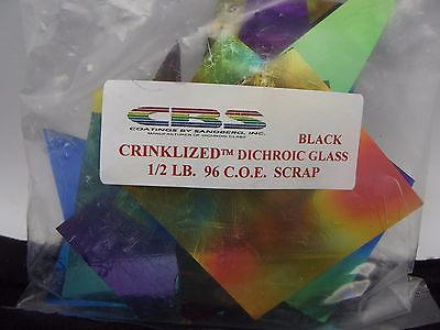 96 COE 1/2 Pound 8 Oz CRINKLIZED DICHROIC Pieces Thin Black Dichro GLASS Scrap