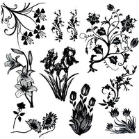 "FLORAL GARDEN Low Fire Fusing Decal Sheet 4x4"" Black or White Enamel Lg Pendants"