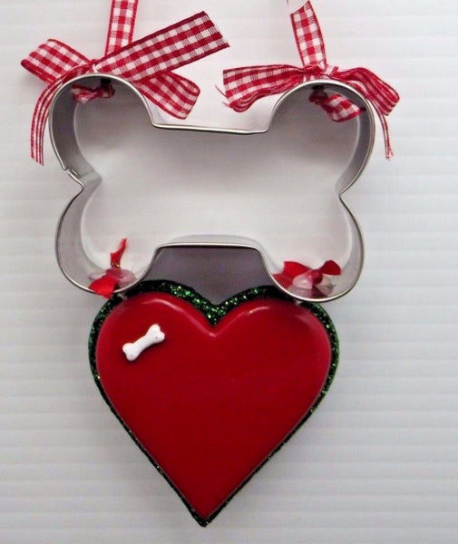 Dog BONE COOKIE CUTTER HEART Ornament Country Check Ribbon SO CUTE Adler