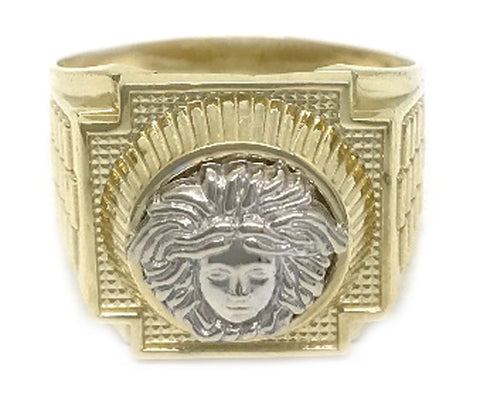 Beautiful Solid Gold Black Medusa Head 10K Yellow 7.1 Grams Ring for Men