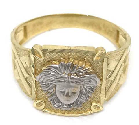 Beautiful Solid Gold Black Medusa Head 10K Yellow 4.0 Grams Ring for Men